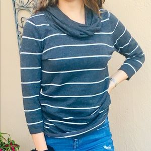Gray Striped Slouchy Turtle Neck